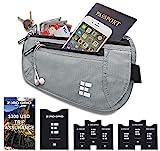 Flache Bauchtasche mit RFID Blocker für Damen und Herren Geldgürtel zum Reisen (Ash) EINWEG