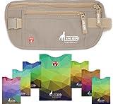 Alpha Keeper Gürteltasche für Reisen mit RFID blockieren Hülsen Set für den täglichen Gebrauch Beige