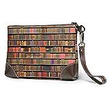 BFDX Geldbörsen Clutch Phone Wallets Bücher Bücherregal Leder Small Wristlet Geldbörsen Handtasche