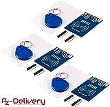 AZDelivery 3 x RFID Kit RC522 mit Reader, Chip und Card für Arduino und Raspberry Pi mit gratis eBook!
