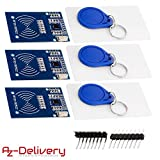 AZDelivery 3 x RFID Kit RC522 mit Reader, Chip und Card für Raspberry Pi inklusive E-Book!